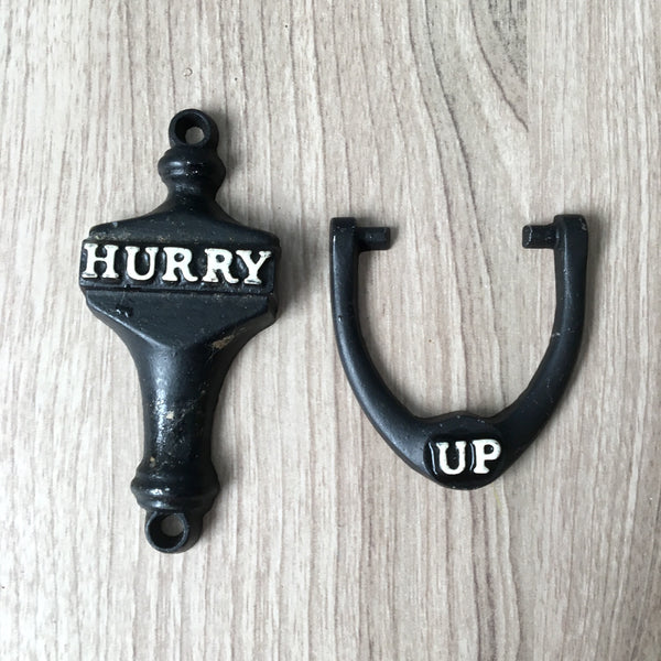"""Hurry Up"" bathroom door knocker - vintage kitsch - NextStage Vintage"