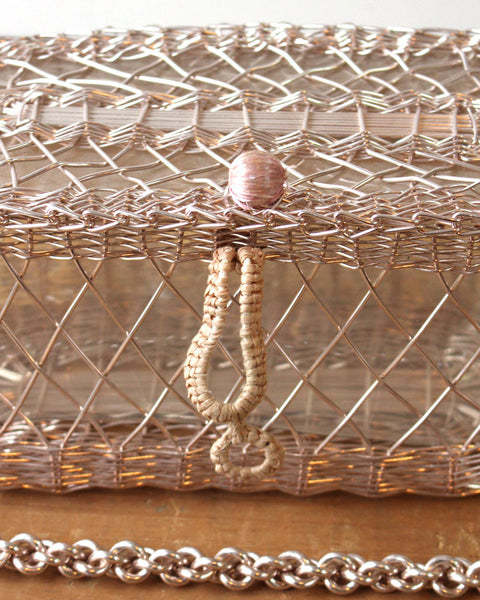 Woven metal wire purse - basket weave silver metal with a clear acetate liner - vintage evening bag - NextStage Vintage