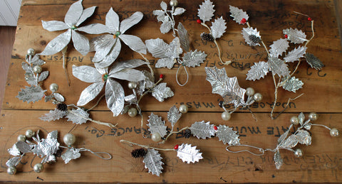 Vintage silver paper poinsettias and holly - retro 1950s Christmas collection - NextStage Vintage