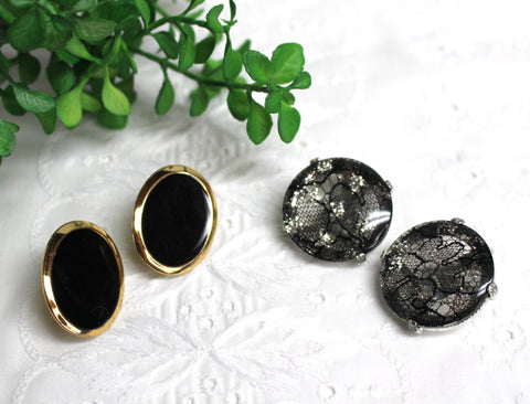 1980s clip on earrings - two pairs - black and gold Napier and glittered black lace acrylic - 1980s jewelry - NextStage Vintage