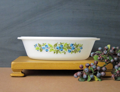 Vintage blueberry Glasbake oval casserole dish - milk glass oven dish - blueberries on both sides - perfect for blueberry crisp for two - NextStage Vintage
