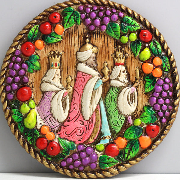 Vintage three kings wall plaque - MCM bright  colors - Della Robbia wreath border - NextStage Vintage