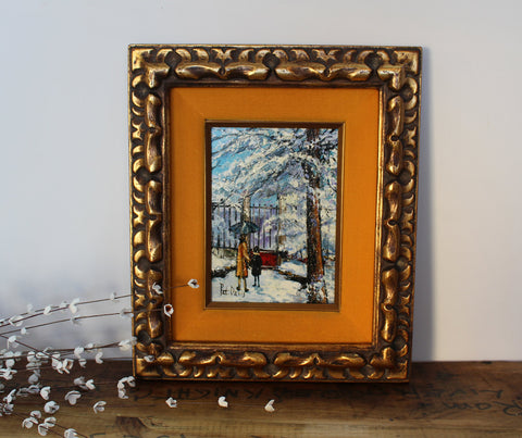 Vintage Syroco winter landscape painting by Pat Davis - mid century framed painting - NextStage Vintage