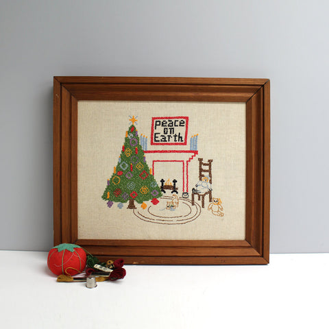 Vintage Peace on Earth cross stitch - 1974 - wooden frame  - retro needlework - NextStage Vintage