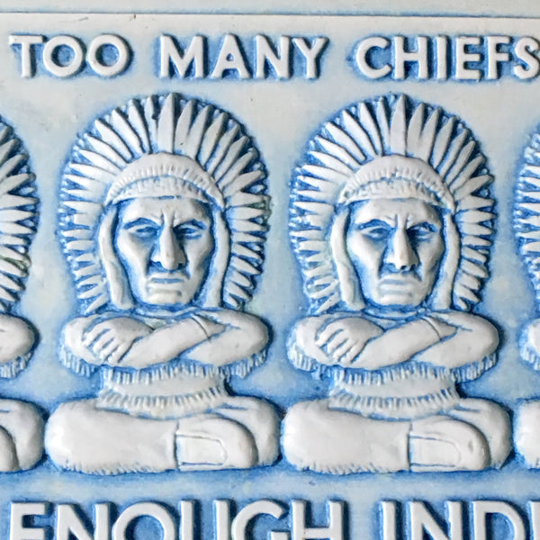 Too many chiefs... kitsch postcard - Postplax by Eden Plastics Corp - 1958 molded plastic postcard