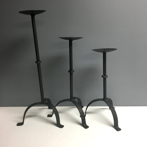 Wrought iron candlestick trio - graduated heights - handmade 1980s vintage - NextStage Vintage