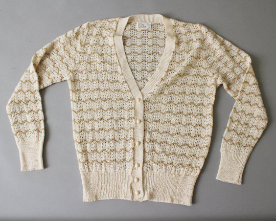 1970s ivory and metallic gold knit cardigan by it's pure Gould - size small - NextStage Vintage