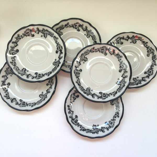 Jackson China Black Scroll Mugs with Saucer - set of 6 available - 1970s does the 1920s - NextStage Vintage