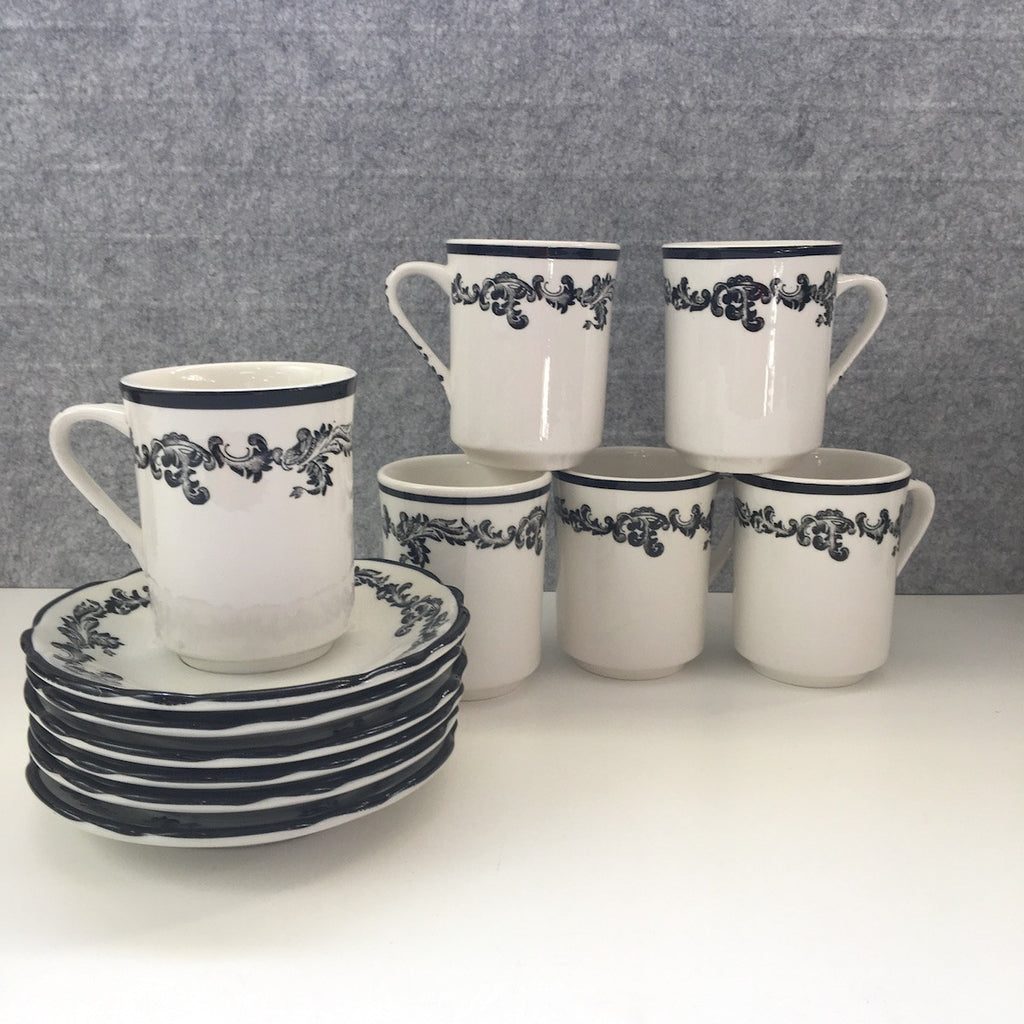Jackson China Black Scroll mugs with saucer - set of 6 - 1970s does the 1920s - NextStage Vintage