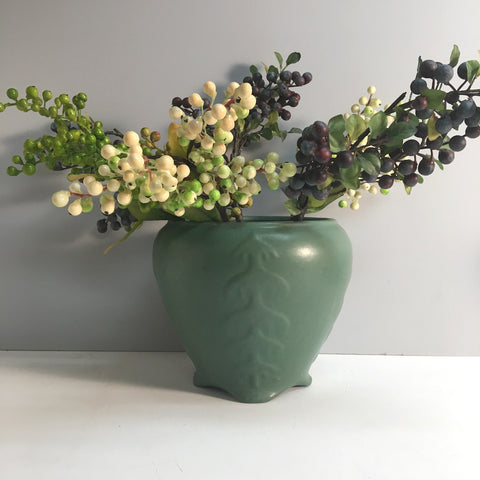 Spruce green jardiniere - redware pottery planter arts and crafts movement style - 1940s vintage - NextStage Vintage