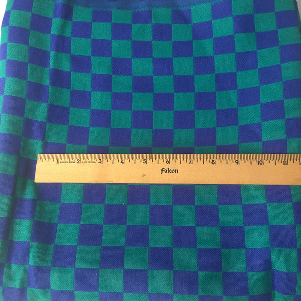 Jade and royal blue check woven wool fabric- suiting or coat weight - 3 yds - 1960s - NextStage Vintage