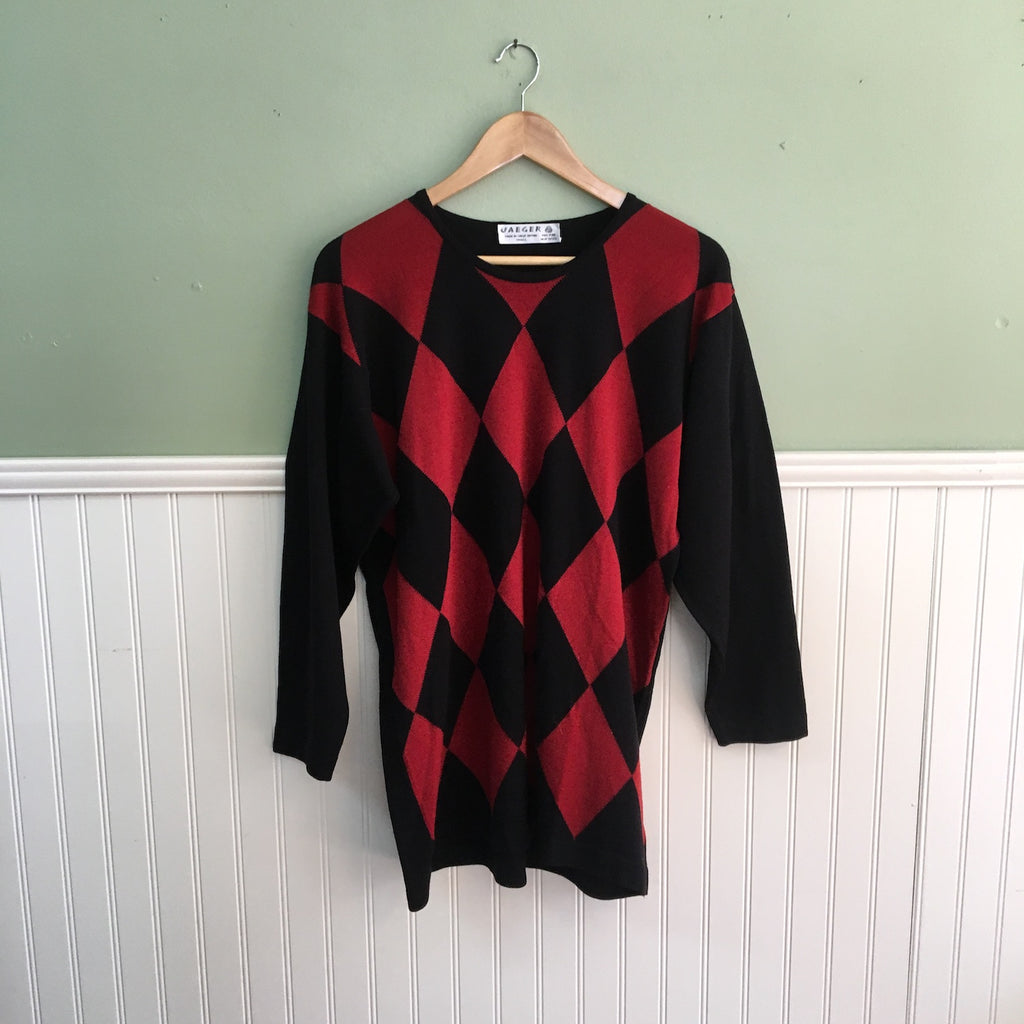 1990s Vintage Jaeger Tunic Sweater Harlequin Pattern Size Small Nextstage Vintage
