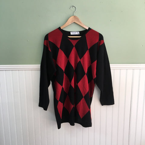 1990s vintage Jaeger tunic sweater - harlequin pattern - size small