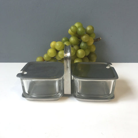 Cromargan double jam or condiment server - Germany - glass and stainless - NextStage Vintage