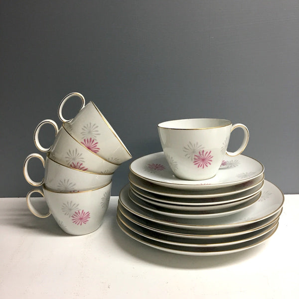 Johann Haviland Rosenthal cake and tea set for 4 - cups, saucers, plates - 1970s vintage - NextStage Vintage