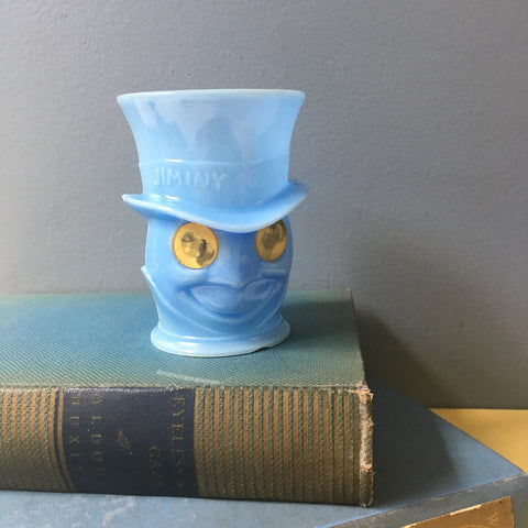 Jiminy Cricket blue plastic mug with lenticular eyes - 1950s Disney novelty