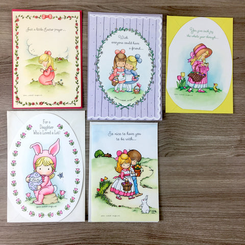 Joan Walsh Anglund Hallmark Easter cards - 5 unused 1970s - 1980s cards - lot b