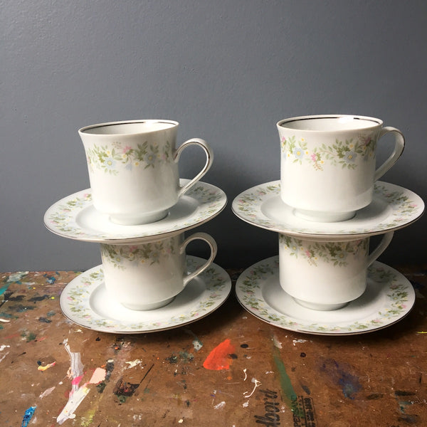Johann Haviland Forever Spring china - 4 cups and saucers - vintage 1980s china - NextStage Vintage