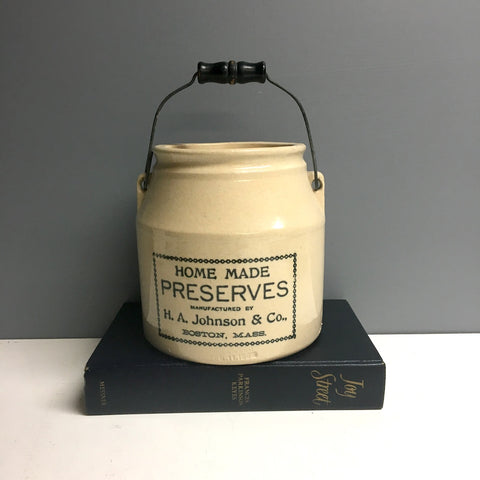 H.A. Johnson & Co. Boston Mass preserves crock with lid - turn of the century stoneware - NextStage Vintage