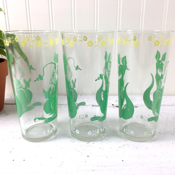 Printed vintage mama and baby kangaroo glasses - set of 3 - 1950s vintage - NextStage Vintage