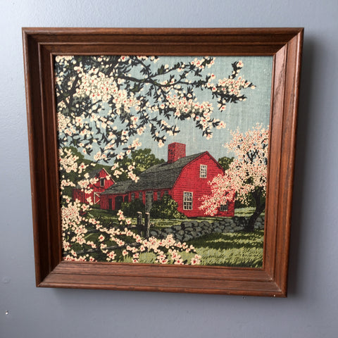 Kay Dee framed linen country home in spring scene - 1970s R. Batchelder print