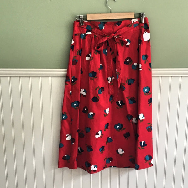 Kensington Square red blue and white floral print wrap skirt - size L - 1970s vintage - NWT - NextStage Vintage
