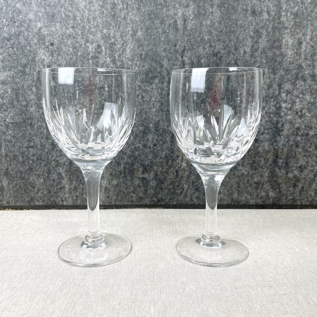 Stuart Kent crystal wine glasses - set of 2 - 1960s, 1970s vintage - NextStage Vintage