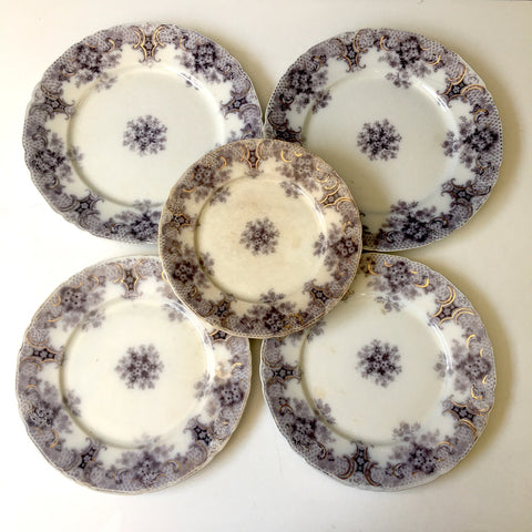 Wood and Son Keswick purple plate collection - 4 pieces - circa 1900s - NextStage Vintage