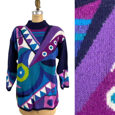 1980s Kitty Hawk by Vivian Wang abstract graphic pattern sweater - size small - NextStage Vintage