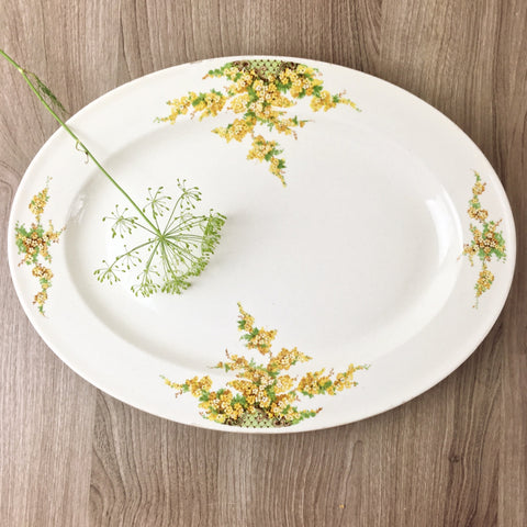 "Edwin Knowles 13.5"" oval platter #442E1T - yellow flowers - 1930s vintage"