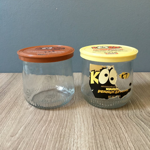 Koogle peanut butter spread Ball jar 993-12 A19 and bonus - 1970s vintage