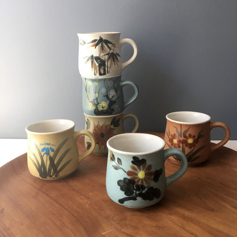 Floral painted speckled mug set of 6 - made in Korea - 1970s vintage - NextStage Vintage