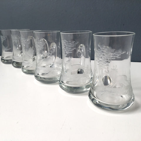 Kisslinger Kristall handled shot glasses - forest animal etchings - set of 6