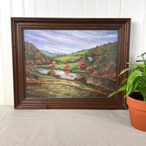 Autumn landscape with river and barn - 1970s plein air framed painting - NextStage Vintage