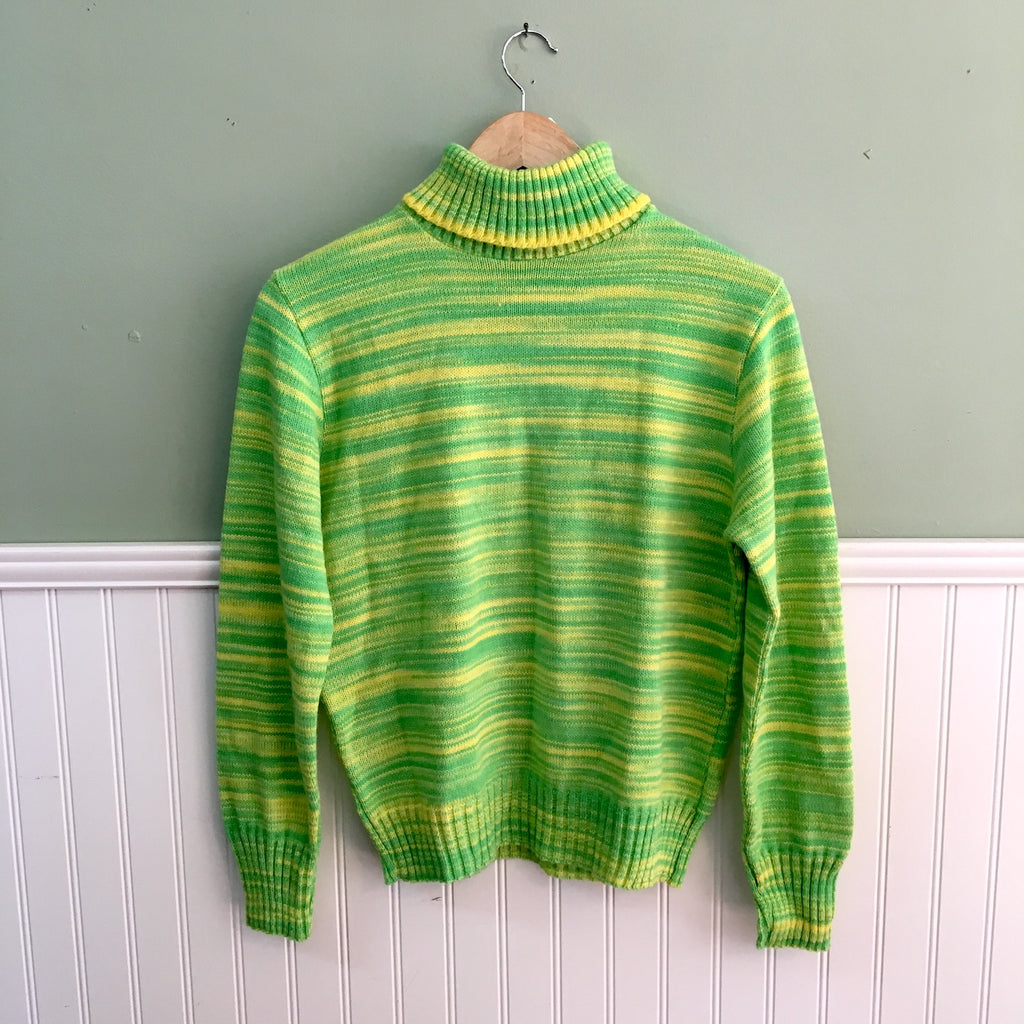 Lemon and lime variegated turtleneck sweater by Lanza Boston East - size medium - 1970s vintage NWT - NextStage Vintage