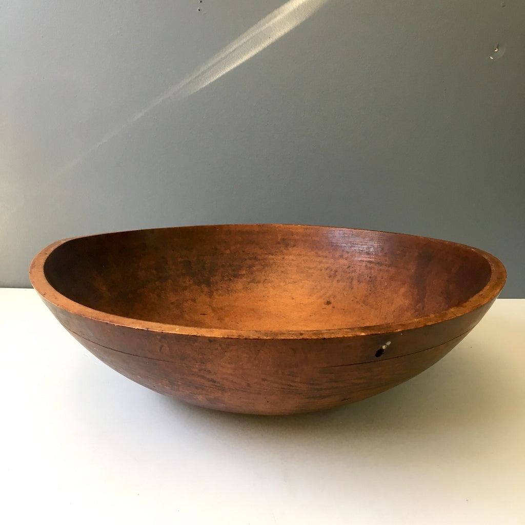 "Primitive antique turned wood dough bowl, possibly maple - 16.75"" diameter - NextStage Vintage"