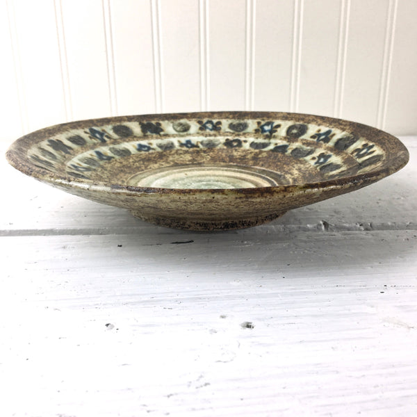 Vintage lava pottery bowl with stamped symbols - vintage studio pottery - NextStage Vintage