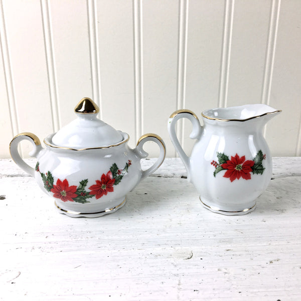Lefton China poinsettia cream and sugar - 1987 vintage  - 06444 - NextStage Vintage