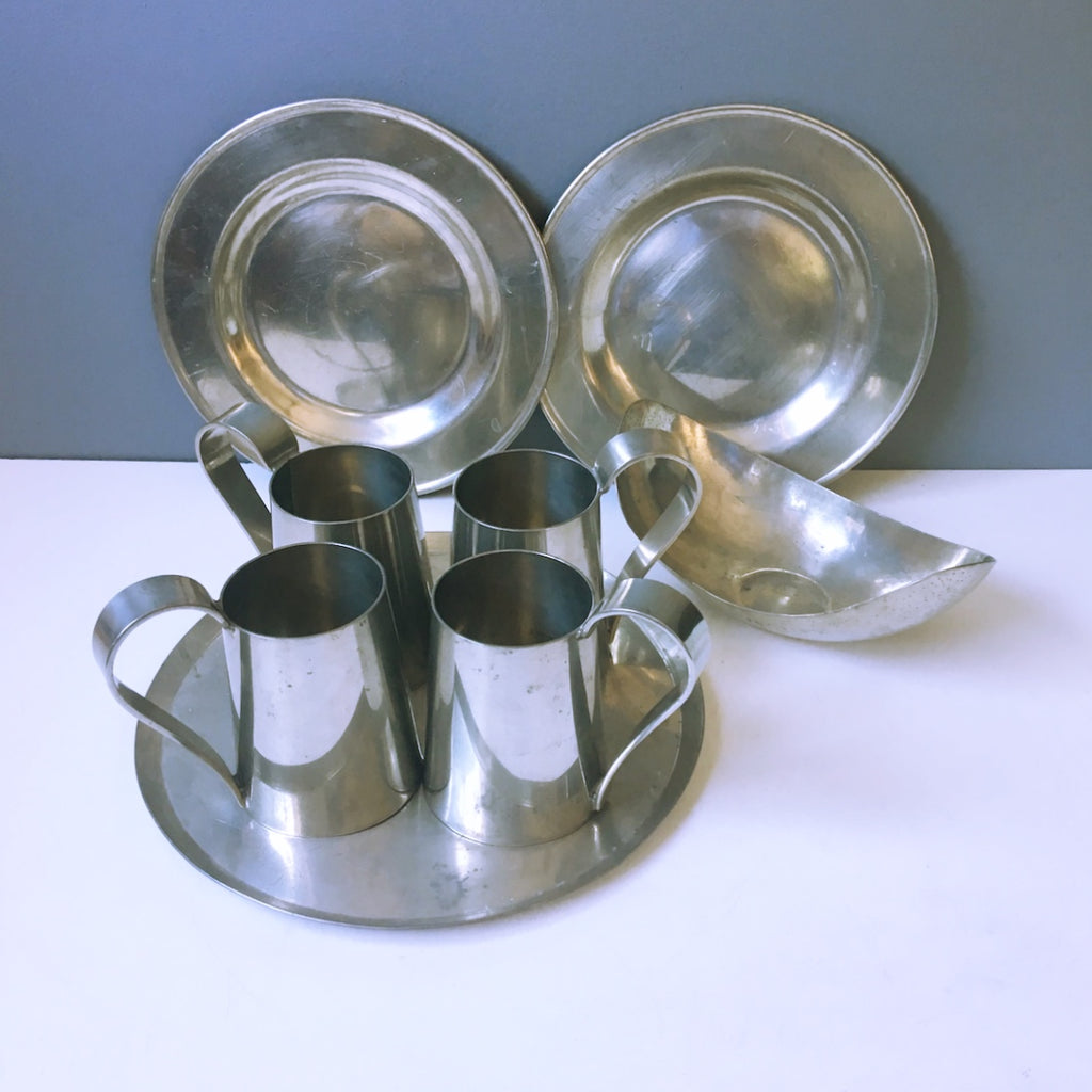 Gene Lesch vintage modern pewter serving collection - 8 pieces - Rockport, MA - 1970s vintage - NextStage Vintage
