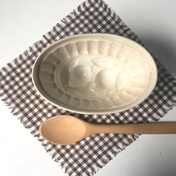 Antique pottery jelly mould - lemon pattern - turn of the century - NextStage Vintage
