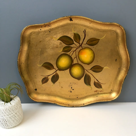 Florentine golden lemons tray - handprinted vintage art tray