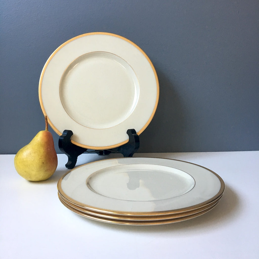 Lenox Tuxedo J-33 luncheon plates - set of 4 - gold backstamp - 1950s vintage - NextStage Vintage