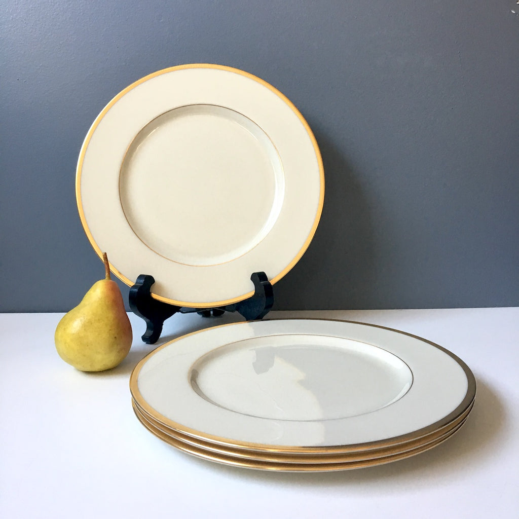 Lenox Tuxedo J-33 dinner plates - set of 4 - gold backstamp - 1950s vintage - NextStage Vintage