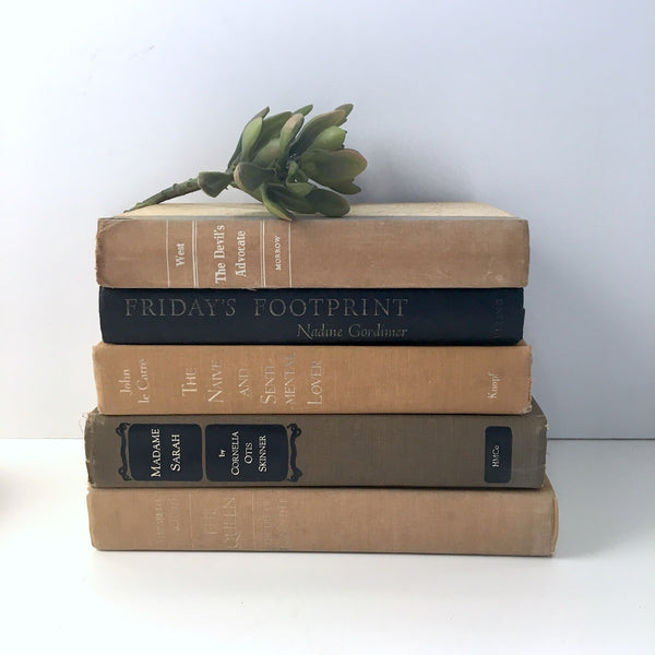 Decor book stack - set of 5 - amber, tan, black - vintage book collection - NextStage Vintage