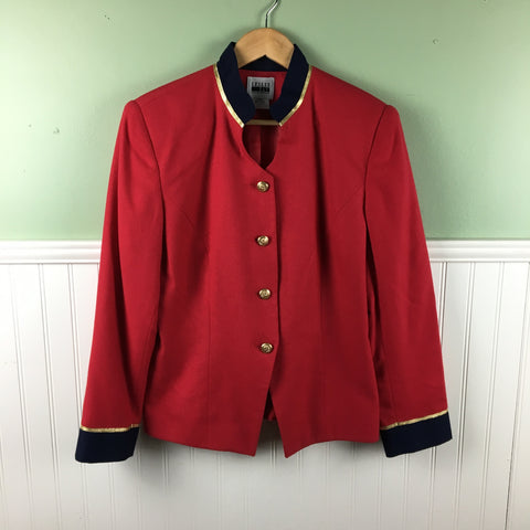 Leslie Fay uniform jacket - cherry red and navy - large - 1970s vintage