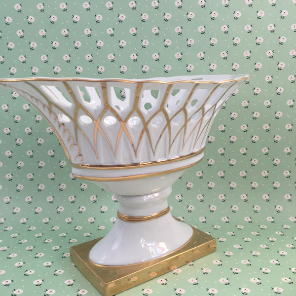 Andrea white china pedestal - marquis shaped footed decorative compote - 1960s - NextStage Vintage