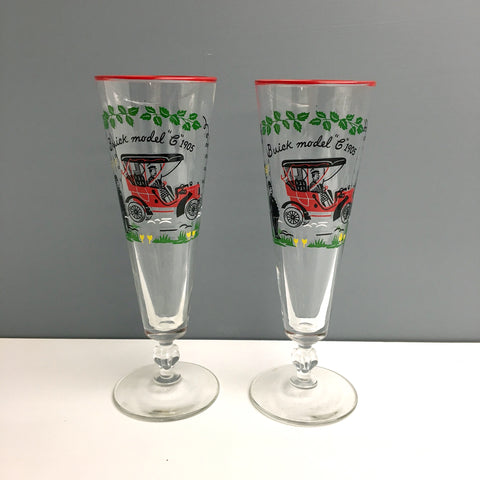 Libbey Horseless Carriage pilsner glasses - a pair - 1950s vintage