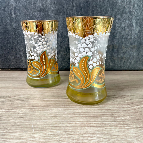 Lily of the valley and gold paisley hand painted glass set - antique art glass - NextStage Vintage