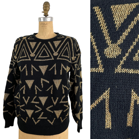 1980s black and gold geometric pullover by Lindsey Blake - size medium - NextStage Vintage