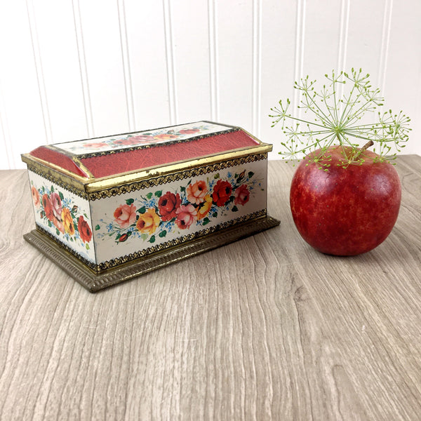 Linette candy tin - vintage Klann West German floral tin
